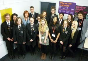 Hannah Broughton (centre, second year, English Language), Alisha Bhagat (to the right of Hannah), and Shannon Allen (back right, second year, English Language) with year 11 pupils and their teacher, West Craven High School, Barnoldswick (Hannah's old school!).